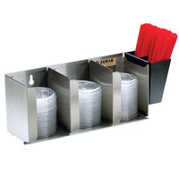 San Jamar L1014 Stainless Steel 3 Stack Horizontal Countertop Lid Organizer with Straw Caddy