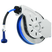 T&S B-7242-08H 50' Open Epoxy Coated Steel Hose Reel with JeTSpray Hi-Flow Spray Valve