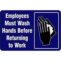 Notrax 194SEW35BU 194 3' x 5' Employees Must Wash Hands Before Returning to Work Floor Mat
