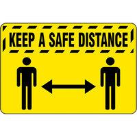 Notrax 194SKS35YL 194 3' x 5' Keep A Safe Distance Floor Mat