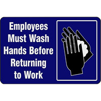 Notrax 194SEW46BU 194 4' x 6' Employees Must Wash Hands Before Returning to Work Floor Mat