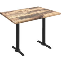 Holland Bar Stool OD211EB-36BWOD3048RUSTICU EnduroTop 30 inch x 48 inch Rustic Wood Laminate Outdoor / Indoor Counter Height Table with End Column Base and Umbrella Hole