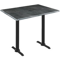 Holland Bar Stool OD211EB-42BWOD3048BLKSTLU EnduroTop 30 inch x 48 inch Black Steel Wood Laminate Outdoor / Indoor Bar Height Table with End Column Base and Umbrella Hole