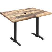 Holland Bar Stool OD211EB-30BWOD3048RUSTICU EnduroTop 30 inch x 48 inch Rustic Wood Laminate Outdoor / Indoor Standard Height Table with End Column Base and Umbrella Hole