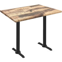 Holland Bar Stool OD211EB-42BWOD3048RUSTICU EnduroTop 30 inch x 48 inch Rustic Wood Laminate Outdoor / Indoor Bar Height Table with End Column Base and Umbrella Hole