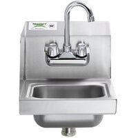 Regency 12 inch x 16 inch Wall Mounted Hand Sink with Gooseneck Faucet and Left Side Splash