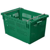 Orbis AF2416-13 Stack-N-Nest 24 inch x 16 inch x 13 3/16 inch Green Agricultural Vented Crate with Bail