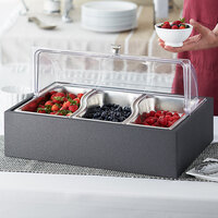 Vollrath Cubic Wild Pan Display Kit with 3 Wild Food Pans, Wooden Base, and Roll Top Cover