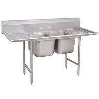 Advance Tabco 9-62-36-18RL Super Saver Two Compartment Pot Sink with Two Drainboards - 77 inch