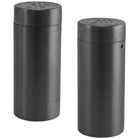 Front of the House TSP012BKS22 2.5 oz. Matte Black Brushed Stainless Steel Round Salt and Pepper Shaker Set - 6/Case