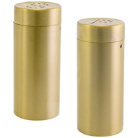 Front of the House TSP012GOS22 2.5 oz. Matte Brass Brushed Stainless Steel Round Salt and Pepper Shaker Set - 6/Case