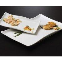 American Metalcraft Prestige CER25 21 inch x 13 1/2 inch Wavy Rectangular Ceramic Platter
