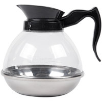 64 oz. Polycarbonate Coffee Decanter with Stainless Steel Bottom and Black Handle
