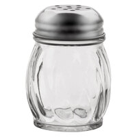 Vollrath 674 Traex® Dripcut® 6 oz. Glass Cheese Shaker with Perforated Stainless Steel Top - 12/Case