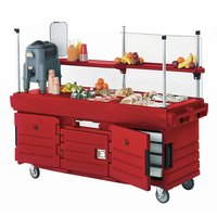 Cambro KVC856158 CamKiosk Hot Red Customizable Vending Cart with 6 Pan Wells