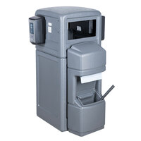 Commercial Zone 757003 Islander Series Aruba-5 42 Gallon Gray Single-Sided Waste / Windshield Service Center with Paper Towel Dispenser, Squeegee, Wash Station, and 2 Glove Dispensers