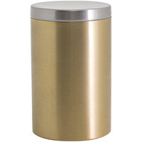 Front of the House RJR029GOS23 10 oz. Round Matte Brass Stainless Steel Jar with Brushed Stainless Steel Lid - 12/Case