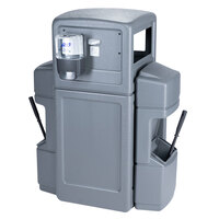 Commercial Zone 757103 Islander Series Aruba-6 42 Gallon Gray Double-Sided Waste / Windshield Service Center with 2 Paper Towel Dispensers, 2 Squeegees, 2 Wash Stations, and 2 Glove Dispensers