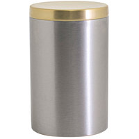 Front of the House RJR030BSS23 10 oz. Round Brushed Stainless Steel Jar with Matte Brass Lid - 12/Case