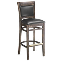 Lancaster Table & Seating Sofia Vintage Finish Upholstered Back Bar Height Chair with Black Padded Seat