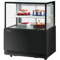 Turbo-Air TBP36-46NN 35 1/2 inch Square Glass Two Tier Black Refrigerated Bakery Display Case