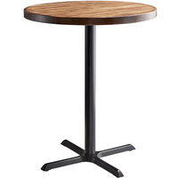 Lancaster Table & Seating 36 inch Round Bar Height Recycled Wood Butcher Block Table with Vintage Finish and Cross Base Plate