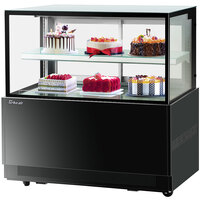Turbo-Air TBP48-46NN 47 inch Square Glass Two Tier Black Refrigerated Bakery Display Case