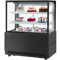 Turbo-Air TBP48-54FN 47 inch Square Glass Three Tier Black Refrigerated Bakery Display Case with Lift-Up Front Glass
