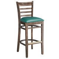Lancaster Table & Seating Vintage Ladder Back Bar Height Chair with Green Padded Seat
