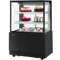 Turbo-Air TBP36-54FN 35 1/2 inch Square Glass Three Tier Black Refrigerated Bakery Display Case with Lift-Up Front Glass