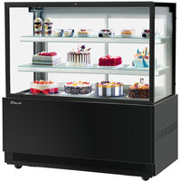 Turbo-Air TBP60-54FN 59 inch Square Glass Three Tier Black Refrigerated Bakery Display Case with Lift-Up Front Glass