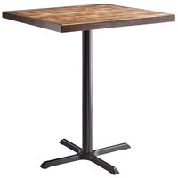 Lancaster Table & Seating 36 inch Square Bar Height Recycled Wood Butcher Block Table with Vintage Finish and Cross Base Plate