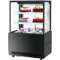 Turbo-Air TBP36-54NN 35 1/2 inch Square Glass Three Tier Black Refrigerated Bakery Display Case