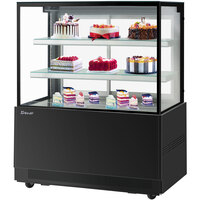Turbo-Air TBP48-54NN 47 inch Square Glass Three Tier Black Refrigerated Bakery Display Case