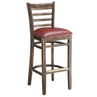 Lancaster Table & Seating Vintage Ladder Back Bar Height Chair with Burgundy Padded Seat