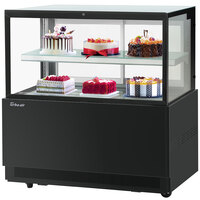 Turbo-Air TBP48-46FN 47 inch Square Glass Two Tier Black Refrigerated Bakery Display Case with Lift-Up Front Glass