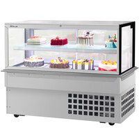 Turbo-Air TBP60-46FDN 59 inch Square Glass Two Tier Drop-In Refrigerated Bakery Display Case