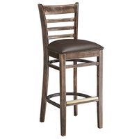 Lancaster Table & Seating Vintage Ladder Back Bar Height Chair with Dark Brown Padded Seat