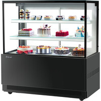 Turbo-Air TBP60-54NN 59 inch Square Glass Three Tier Black Refrigerated Bakery Display Case