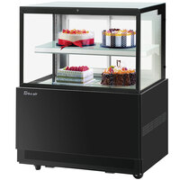 Turbo-Air TBP36-46FN 35 1/2 inch Square Glass Two Tier Black Refrigerated Bakery Display Case with Lift-Up Front Glass