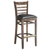 Lancaster Table & Seating Vintage Ladder Back Bar Height Chair with Black Padded Seat