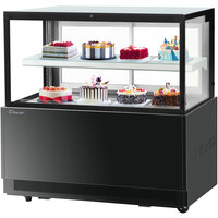 Turbo-Air TBP60-46FN 59 inch Square Glass Two Tier Black Refrigerated Bakery Display Case with Lift-Up Front Glass