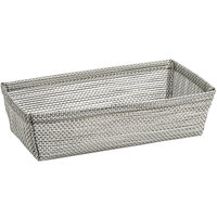 Front of the House RBA005GYV22 Metroweave 7 1/2 inch x 4 1/4 inch x 2 inch Gray Mesh Woven Vinyl Basket - 6/Case