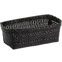Front of the House TSH009BKV24 Metroweave 4 inch x 2 1/4 inch x 1 1/2 inch Black Random Weave Woven Vinyl Basket - 24/Case