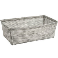 Front of the House RBA004GYV22 Metroweave 8 1/2 inch x 5 inch x 3 inch Gray Mesh Woven Vinyl Basket - 6/Case