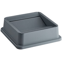 Lavex Janitorial 35 Gallon Gray Square Trash Can Swing Lid