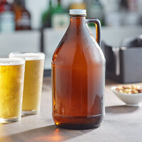 Acopa 64 oz. Amber Growler with Cap - 6/Case