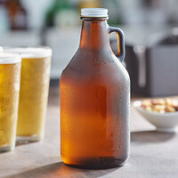Acopa 32 oz. Amber Growler with Cap - 12/Case
