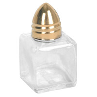 0.5 oz. Mini Glass Square Salt and Pepper Shaker with Gold-Plated Stainless Steel Bullet Top   - 12/Case
