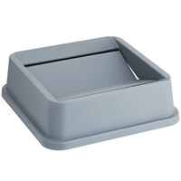 Lavex Janitorial 19 / 23 Gallon Gray Square Trash Can Swing Lid